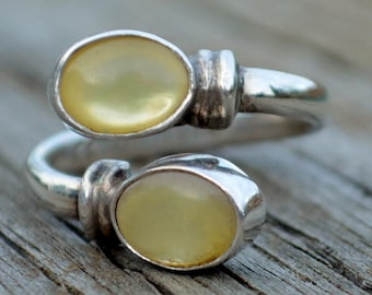 Vintage Sterling Silver Opal Mother of Pearl Artist CC Adjustable Southwestern Band Ring Size 7