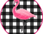 Iron On Transfer Pink Flamingo On Black Check - Great for Backpacks, Pillows, Totes, T-Shirts, Aprons and Other Gifts!