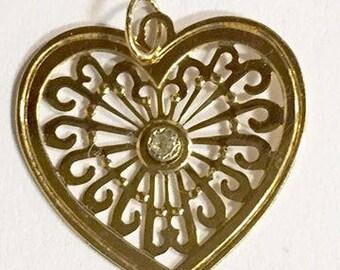 Vintage 14 KT Gold Heart Charm Pendant