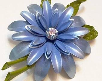 Vintage Blue Enameled Metal Flower Brooch by Lisner
