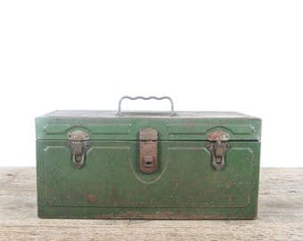 Vintage Green Metal Toolbox / Industrial Box / Metal Storage Box / Antique Metal Tool Box / Tool Display / Decor Prop Unique Storage Box