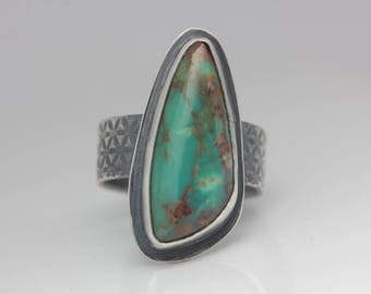 Freeform Turquoise Ring, Turquoise & Sterling Silver Ring, Unisex Statement Ring, Size 6.5
