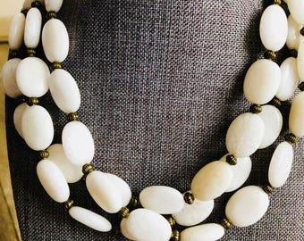 White Jade multistrand statement necklace, vintage jewelry, wedding jewelry, statement jewelry, bold necklace, white jewelry