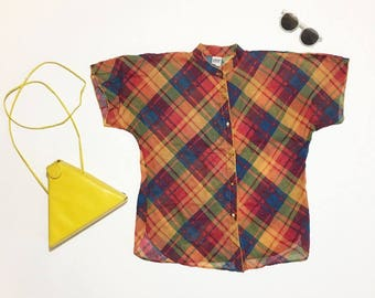 70s short sleeve button up semi sheer