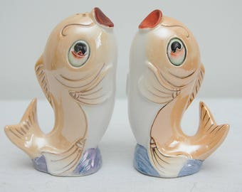 Mid Century Kitsch Fish Ceramic Salt and Pepper Shakers