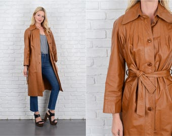 Vintage 70s Cognac Beige Tan Mod leather Coat Trench Small S 10091