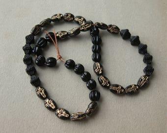 Destash Vintage Beads Small Black Czech Glass Strand of 45 Beads