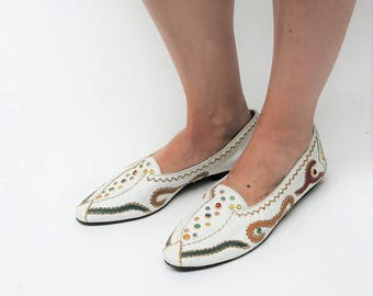 1980s White Embellished Pumps Size UK 6.5, US 9, EU 39.5
