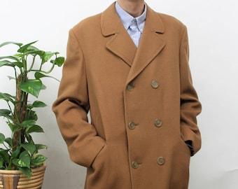 1960s Tan Double Breasted Coat Size Medium
