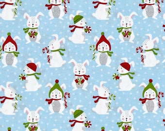 Winter Bunny Rabbits on Sky Blue from Robert Kaufman's Frosty Friends Collection by Andie Hanna