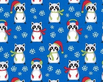 Raccoons & Snowflakes on Blue From Robert Kaufman's Frosty Friends Collection by Andie Hanna
