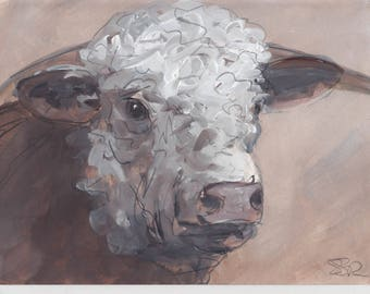 Original Young traditional Hereford Bull - Mixed Media on Watercolour Paper