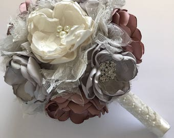 Silver, Mauve and Cream Large Bouquet - Fabric Flower Bouquet - Heirloom Bouquet, Fabric Flowers, Cinged Flowers, Pink and Silver Wedding