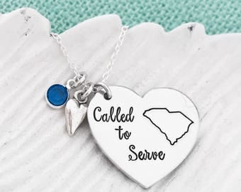 "ALL 50 STATES Available ""Called to Serve"" Personalized State - Hand Stamped LDS Mormon Missionary Necklace"