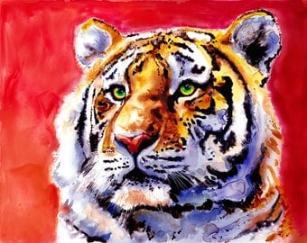 Tiger Watercolor Fine Art Print on Paper, Metal, or Bamboo
