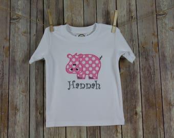 Hippo Shirt, Appliqued Toddler Girls Shirts, Personalized Kids Zoo Shirt, Kids Animal Tshirt, Baby Hippo Shirt