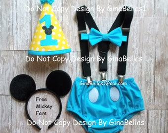 Mickey Mouse Birthday outfit cake smash blue outfit suspenders I am One Hat diaper cover bow tie 9 12 18 24 toddler baby shower