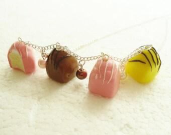 Fondant Fancy Necklace. Polymer Clay.