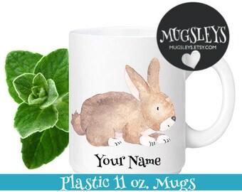 Bunny Kids Mug, Custom Mug for Kids, Kids Easter Mug, Personalized mug, Bunny gift, Brown bunny mug, Custom Easter Gift for Children Cup