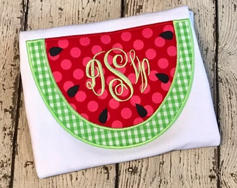 Girl's Watermelon Monogram Applique shirt - Summer Shirt - Summer Designs