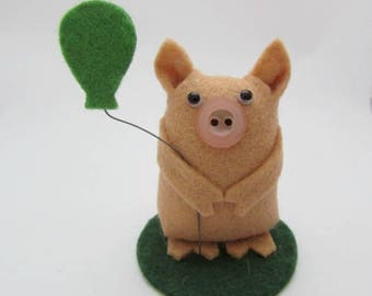 Brian the Birthday Pig - Pig Gift - Pig Cake Topper