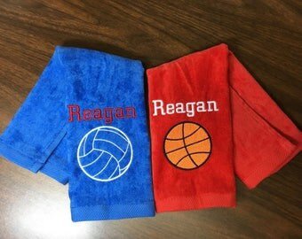 Basketball, volleyball, tennis, golf, baseball, softball, cheer, track, or any other. Personalized sport towel towel, design and one name,