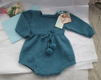Knitting Pattern PDF Jolly Romper Baby Vintage Style Size 3M to 6M Baby Boy or Girl