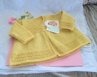 Hand Knit Baby Sweater Cardigan Wool 12M Ready to ship Vintage Style Yellow