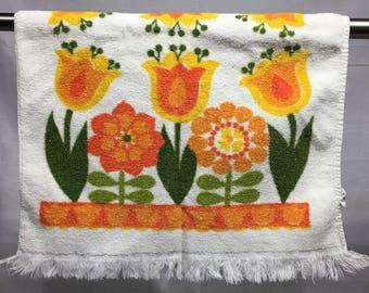 Vintage Floral Kitchen Towel,retro Kitchen Towel, Orange, Yellow, Green, And