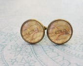 20% OFF -- 16 mm Vintage look England Dublin Map Cuff Links ,Mens Accessories,Perfect Gift Idea