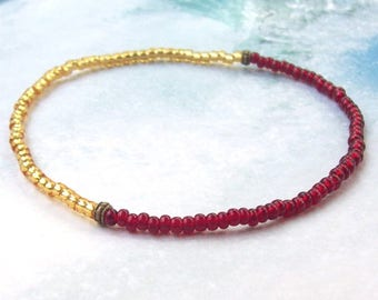 SALE Garnet and Gold Anklet, Silver Anklet, beaded anklet, red stacking anklet, stretchy, ankle bracelet, beach, plus size bracelet, january