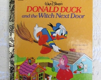 SALE 20% OFF Vintage Walt Disney's Donald Duck And The Witch Next Door, 1970s Vintage A Little Golden Book, Collectible Children's Book