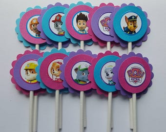 Paw Patrol Inspired Cupcake Toppers - Pink, Purple & Blue - Qty: 12 - All Characters Paw Patrol Birthday Party