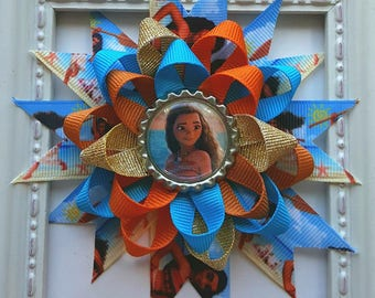 Moana Inspired Loopy Flower Hair Bow - Turquoise Blue & Coral Orange with Moana Bottle Cap Accent - Moana Birthday Party Gift or Favor