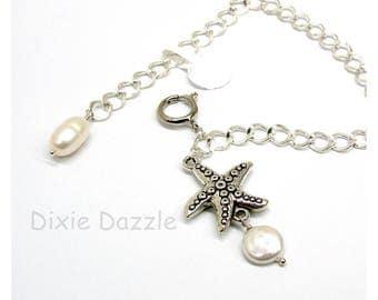Starfish charm bracelet, beach style, freshwater pearls, silver charm bracelet, adjustable bracelet, resort wear, summertime,easy open clasp