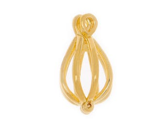 20 pcs 22x11MM 18K Gold Filigree Teardrop Brass Cage Pendant ,pearl cage,Cage Earrings C1398