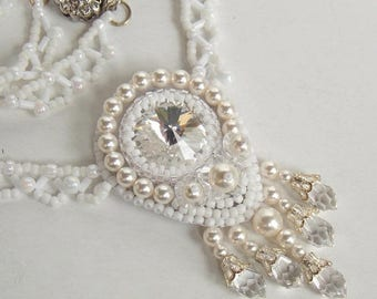 Summer sale Bead embroidery, Wedding jewelry ,Swarovski necklace , Seed bead necklace  ,Fashion jewelry , Swarovski jewelry, White