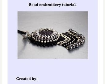 Sale-15% DIY, KIT ,Pattern,  Tutorial and Materials , Bead embroidery KIT , Instructions and materials , Lava gemstone necklace