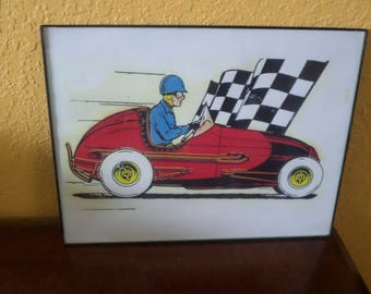 Print/Pen and Ink/SPORT/ Race CAR/RACING/Car/Not Signed/Ready to Hang/Plastic Frame