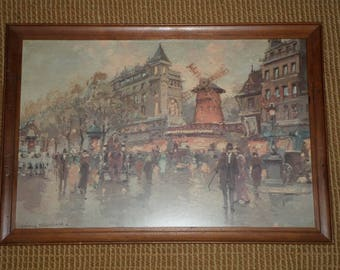Vintage PRINT/WOOD FRAME/Paris Street/Windmill/Montmartre/Antoine Blanchard