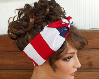 American Flag Headband 4th of July Headband Summer Fashion Accessories Women Headband Dolly Bow Tie up Headband Bandana