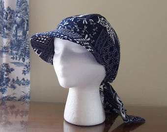 Baseball Style Chemo Cap with Ties in Navy Blue Cotton for Women, Easy to Wear, Soft and Comfortable, Ready to Ship, Cancer Patient Gift