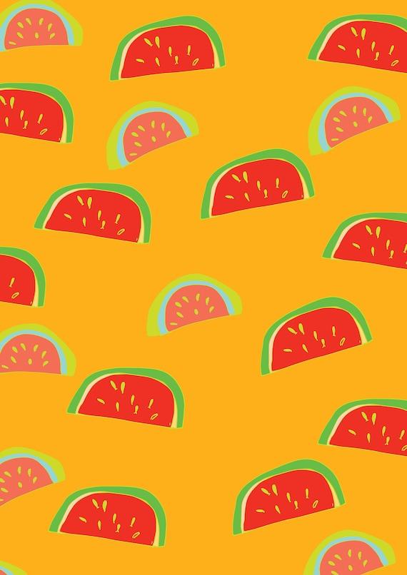 Watermelons on orange A3 wall art Print.Botanical  Poster Illustration. wall decor.gift