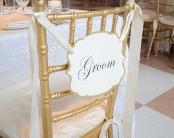 JUST THE GROOM Chair Signs, Wedding signs, Chair signs, shower groom sign