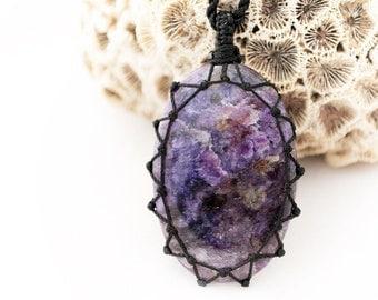 Unique Women Jewelry, Charoite Necklaces, Purple Stone Pendant, Charoite Stone, Dark Purple Necklace, Purple Pendant Necklace, Zen jewelry