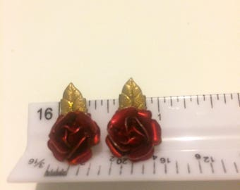 Vintage Red Rose with Gold Leaf Clip On Earrings