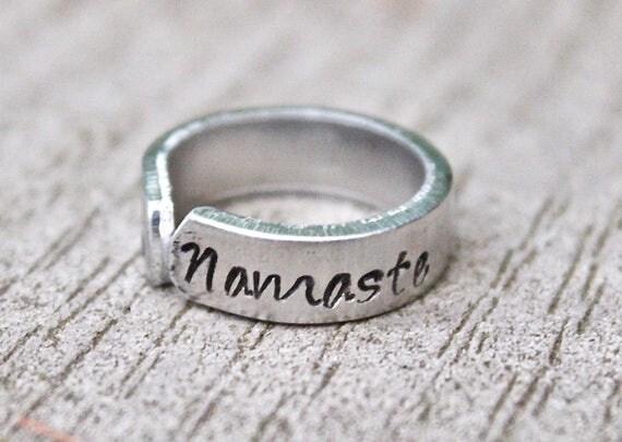 Mantra Ring Namaste, Namaste Mantra Ring, Adjustable Ring, Hand Stamped Lotus Ring, Mantra Ring, Namaste adjustable ring, Lotus Namaste Ring