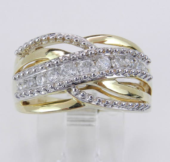 Diamond Crossover Anniverary Ring Multi Row Band Yellow and White Gold Size 7