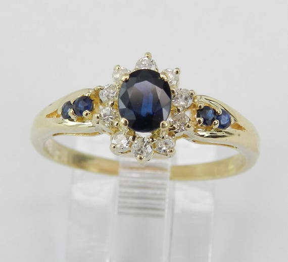 14K Yellow Gold Diamond and Sapphire Halo Engagement Ring Size 7.5