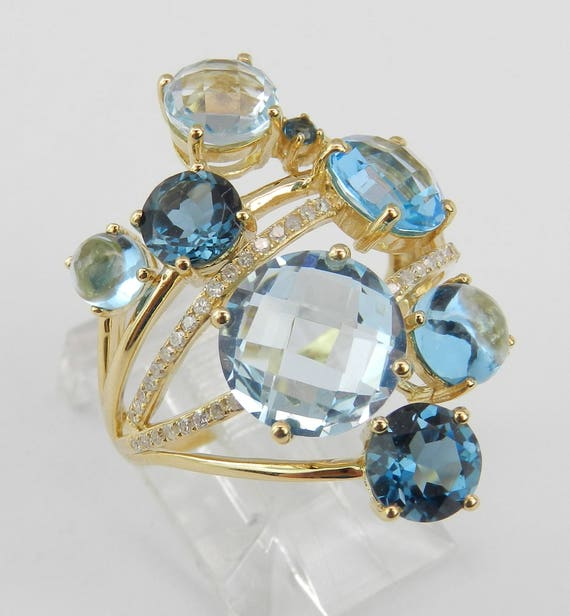 14K Yellow Gold Blue Topaz and Diamond Multi Row Cocktail Gemstone Ring Size 7
